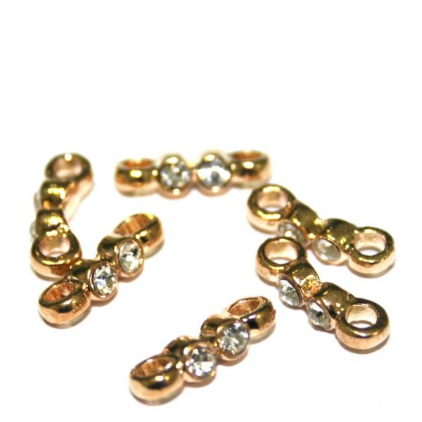 50pcs x 13*2mm champagne gold bow shape spacer with 2 holes - C7003048